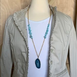 Jewelry - Boutique Blue Agate Gold Long Necklace